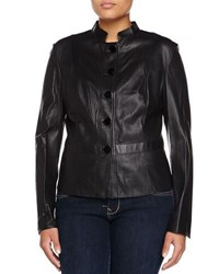 Giorgio Armani Lamb Leather Peplum Jacket Black