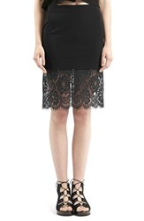 Women's Topshop Lace Hem Body Con Skirt