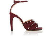 Sergio Rossi Women's Studded Suede Ankle Strap Sandals Coral Burgundy