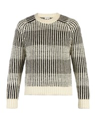Saint Laurent Striped Crew Neck Jumper Black White