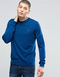 Fred Perry Jumper With Crew Neck In Service Blue Service Blue