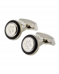 Hickey Freeman Rhodium Plated Onyx And Griffin Logo Round Cuff Links Silver