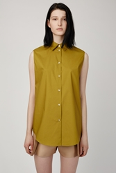 Acne Studios Clio Sleeveless Tech Poplin Shirt Olive Green