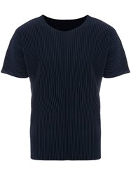 Homme Plisse Issey Miyake Pleated T Shirt Polyester Blue