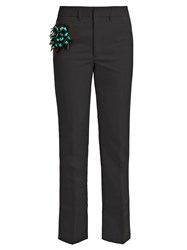 Toga Bead Embellished Straight Leg Wool Blend Trousers Navy