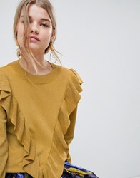 Selected Agnes Ruffle Front Jumper Yellow