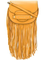 Michael Michael Kors Small Cary Fringed Saddle Bag Yellow And Orange