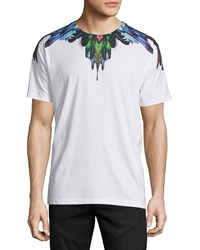 Marcelo Burlon Multicolored Feather Graphic Short Sleeve Tee White
