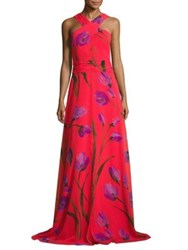 David Meister Cross Neck Halter Floral Printed Gown Red Purple