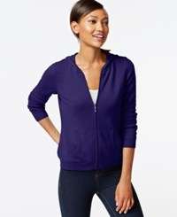 Charter Club Cashmere Zip Front Hoodie Only At Macy's Wine Frost