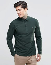 Farah Polo Shirt With Long Sleeves In Slim Fit Green Green