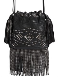 Saint Laurent Helena Studded Fringe Leather Bucket Bag