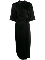 Nanushka Wrap Midi Dress Black