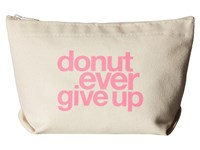 Dogeared Donut Ever Give Up Tote Pink Canvas Tote Handbags