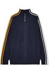 Sjyp Striped Knitted Track Jacket Navy