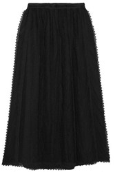 Red Valentino Redvalentino Lace Trimmed Tulle Midi Skirt Black