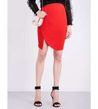 Givenchy Asymmetric Stretch Jersey Skirt Red