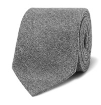 Brunello Cucinelli 8Cm Melange Wool Silk And Cashmere Blend Tie Gray
