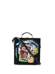 Olympia Le Tan Basquiat Face Embroidered Tote Bag Black