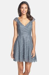 Women's Jim Hjelm Occasions Cap Sleeve Lace Fit And Flare Dress Charcoal