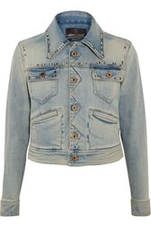 Roberto Cavalli Embroidered Studded Denim Jacket Mid Denim