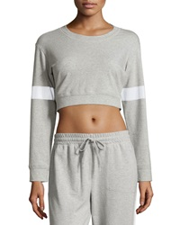 Norma Kamali Striped Sleeve Cropped Sweatshirt Heather Gr