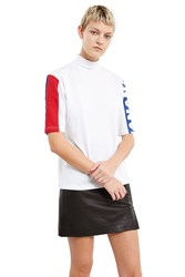 Nattofranco Color Block Mockneck Tee White Multi