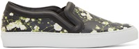 Givenchy Black And Green Floral Slip On Sneakers