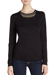 Ellen Tracy Beaded Long Sleeve Top Black