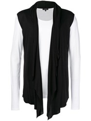 Unconditional Contrast Hooded Cape Waistcoat T Shirt White