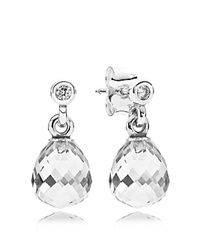 Pandora Design Pandora Earrings Sterling Silver And Cubic Zirconia Geometric Drops