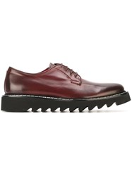 Cesare Paciotti Ridged Sole Derby Shoes Red
