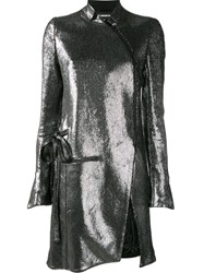 Ann Demeulemeester Asymmetric Zip Coat Metallic