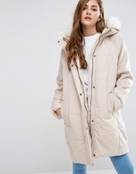 Asos Wool Parka With Padded Front Oatmeal Brown