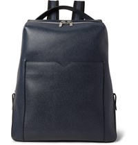 Valextra Pebble Grain Leather Backpack Navy