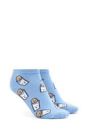 Forever 21 Cookie Print Ankle Socks Blue Multi