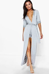 Boohoo Tie Waist Duster And Shorts Co Ord Set Grey