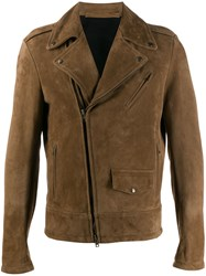 Salvatore Santoro Suede Biker Jacket Brown