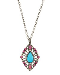 Bavna Champagne Diamond Turquoise And Ruby Marquise Pendant Necklace