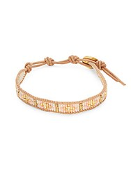 Chan Luu 18K Gold Plated Sterling Silver And Leather Bracelet Salmon Beige