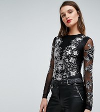 A Star Is Born Embellished Bodysuit With Embellishment And Embroidery Black Silver Irredes Navy