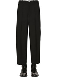 Balenciaga Cropped Wool Gabardine Trousers Black