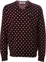 Comme Des Garcons Play Polka Dot V Neck Sweater Brown
