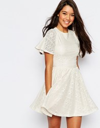 Asos Skater Dress With Lace Back And Keyhole Cream