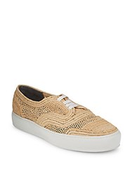 Robert Clergerie Perforated Lace Up Sneakers Natural
