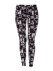Morgan Leggings With Contrasting Patterning Black