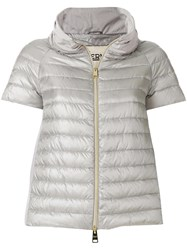 Herno Cropped Down Jacket Feather Down Polyamide Polyester Grey