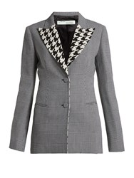 Off White Single Breasted Prince Of Wales Check Wool Blazer Grey Print