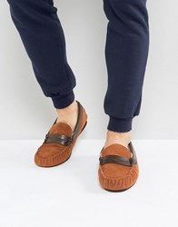Dunlop Loafer Slippers In Tan Suede