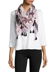 Lord And Taylor Leaf Printed Scarf Pink Black